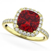 Cushion Cut Halo Ruby & Diamond Engagement Ring 14k Yellow Gold (3.11ct)