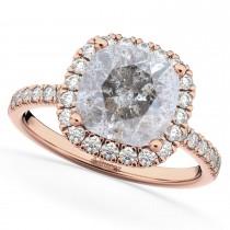 Cushion Cut Salt & Pepper Diamond Engagement Ring 14k Rose Gold (2.55ct)
