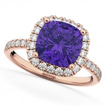 Cushion Cut Halo Tanzanite & Diamond Engagement Ring 14k Rose Gold (3.11ct)