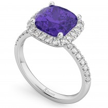Cushion Cut Halo Tanzanite & Diamond Engagement Ring 14k White Gold (3.11ct)