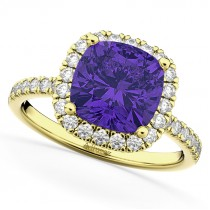 Cushion Cut Halo Tanzanite & Diamond Engagement Ring 14k Yellow Gold (3.11ct)