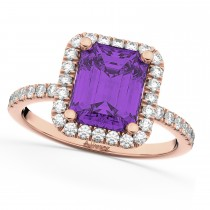 Amethyst & Diamond Engagement Ring 14k Rose Gold (3.32ct)