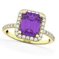 Amethyst & Diamond Engagement Ring 18k Yellow Gold (3.32ct)