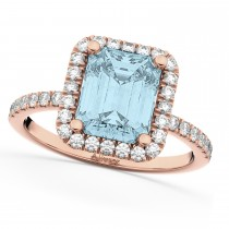 Aquamarine & Diamond Engagement Ring 14k Rose Gold (3.32ct)