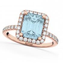 Aquamarine & Diamond Engagement Ring 14k Rose Gold (3.32ct)
