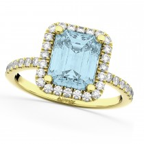 Aquamarine & Diamond Engagement Ring 14k Yellow Gold (3.32ct)