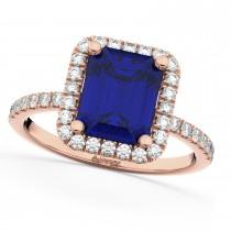 Blue Sapphire & Diamond Engagement Ring 14k Rose Gold (3.32ct)