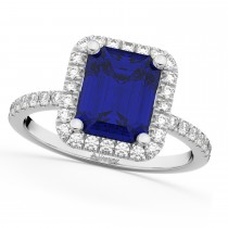 Blue Sapphire & Diamond Engagement Ring 14k White Gold (3.32ct)