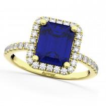 Blue Sapphire Diamond Engagement Ring 18k Yellow Gold (3.32ct)