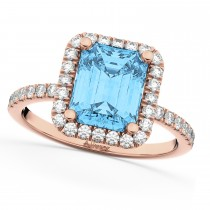Blue Topaz & Diamond Engagement Ring 18k Rose Gold (3.32ct)