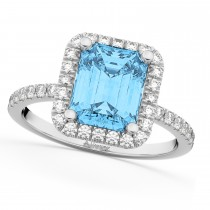 Blue Topaz & Diamond Engagement Ring 18k White Gold (3.32ct)
