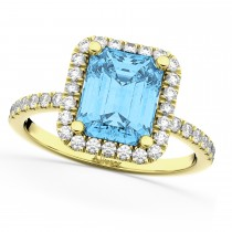 Blue Topaz & Diamond Engagement Ring 18k Yellow Gold (3.32ct)