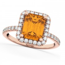 Emerald-Cut Citrine & Diamond Engagement Ring 14k Rose Gold (3.32ct)