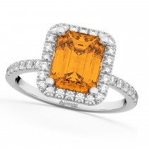 Emerald-Cut Citrine & Diamond Engagement Ring 14k White Gold (3.32ct)