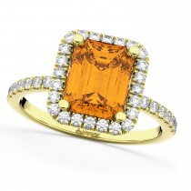 Emerald-Cut Citrine & Diamond Engagement Ring 14k Yellow Gold (3.32ct)