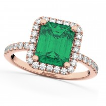 Emerald & Diamond Engagement Ring 14k Rose Gold (3.32ct)