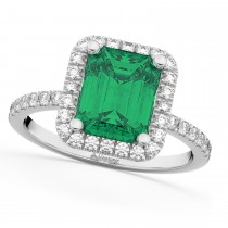 Emerald & Diamond Engagement Ring 14k White Gold (3.32ct)