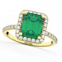 Emerald & Diamond Engagement Ring 14k Yellow Gold (3.32ct)