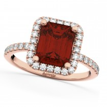 Emerald-Cut Garnet & Diamond Engagement Ring 14k Rose Gold (3.32ct)
