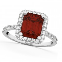 Emerald-Cut Garnet & Diamond Engagement Ring 14k White Gold (3.32ct)