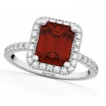 Emerald-Cut Garnet & Diamond Engagement Ring 18k White Gold (3.32ct)