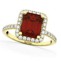 Emerald-Cut Garnet Diamond Engagement Ring 18k Yellow Gold (3.32ct)