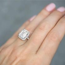 Emerald Cut Lab Grown Diamond Engagement 14k White Gold (3.32 ct)