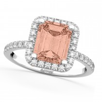 Morganite & Diamond Engagement 14k White Gold (3.32 ct)