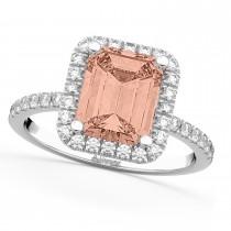 Morganite & Diamonds Engagement 14k White Gold (3.32 ct)