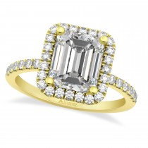 Moissanite & Diamond Engagement 14k Yellow Gold (3.32 ct)