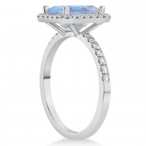 Emerald-Cut Moonstone & Diamond Engagement Ring 14k White Gold (3.32ct)
