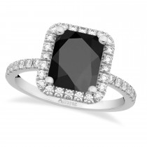 Black Onyx & Diamond Engagement Ring 14k White Gold (3.32ct)