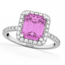 Pink Sapphire & Diamond Engagement Ring 14k White Gold (3.32ct)