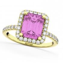 Pink Sapphire Diamond Engagement Ring 18k Yellow Gold (3.32ct)