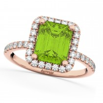 Emerald-Cut Peridot & Diamond Engagement Ring 14k Rose Gold (3.32ct)