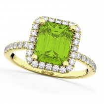 Emerald-Cut Peridot Diamond Engagement Ring 18k Yellow Gold (3.32ct)