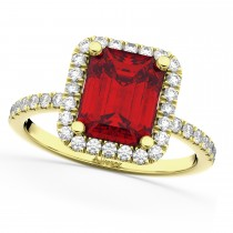 Ruby & Diamond Engagement Ring 18k Yellow Gold (3.32ct)
