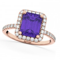 Emerald-Cut Tanzanite & Diamond Engagement Ring 14k Rose Gold (3.32ct)