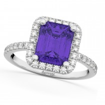 Emerald-Ct Tanzanite & Diamond Engagement Ring 14k White Gold (3.32ct)