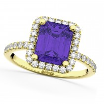 Emerald-Cut Tanzanite Diamond Engagement Ring 18k Yellow Gold (3.32ct)