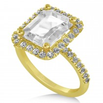 White Topaz & Diamond Engagement Ring 14k Yellow Gold (3.32ct)