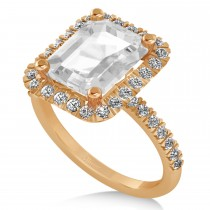 White Topaz Diamond Engagement Ring 18k Rose Gold (3.32ct)