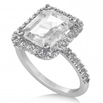 White Topaz Diamond Engagement Ring 18k White Gold (3.32ct)