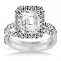 Diamond Emerald-Cut Halo Curved Bridal Set 14k White Gold (3.59ct)