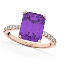 Emerald Cut Amethyst & Diamond Engagement Ring 14k Rose Gold (2.96ct)