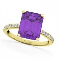 Emerald Cut Amethyst & Diamond Engagement Ring 14k Yellow Gold (2.96ct)
