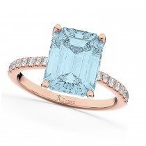 Emerald Cut Aquamarine & Diamond Engagement Ring 14k Rose Gold (2.96ct)