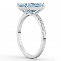 Emerald Cut Aquamarine & Diamond Engagement Ring 14k White Gold (2.96ct)