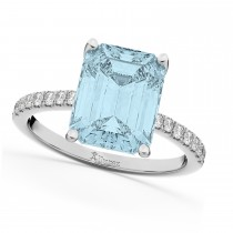 Emerald Cut Aquamarine & Diamond Engagement Ring 18k White Gold (2.96ct)