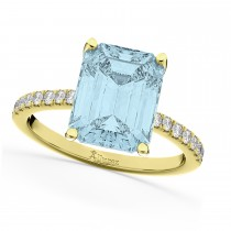 Emerald Cut Aquamarine & Diamond Engagement Ring 18k Yellow Gold (2.96ct)